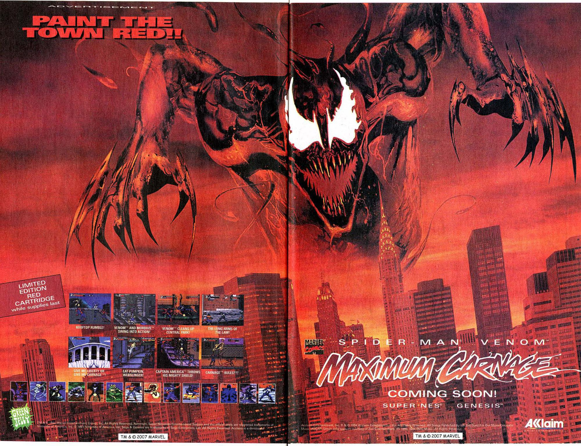 Video Game Ad Of The Day Spider Man And Venom Maximum Carnage